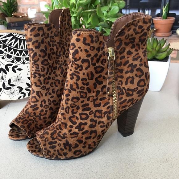 leopard print open toe booties